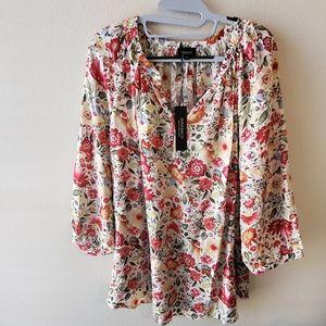 New Jones ditsy floral blouse plus size 2X